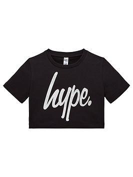 hype-girls-holographic-foilnbspcrop-t-shirt-black