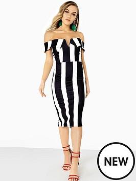 Girls on Film Bardot Bold Stripe Midi Dress - Monochrome, / Women