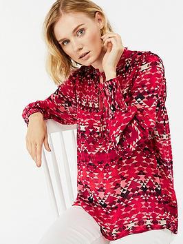 monsoon-ali-print-longline-blouse-red