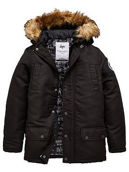 hype-boys-faux-fur-hooded-parka-jacket-black
