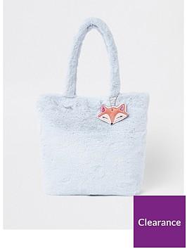 b60ca8c7c5 River Island Girls blue faux fur shopper bag