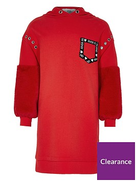 river-island-girls-red-faux-fur-sleeve-hoodie-dress