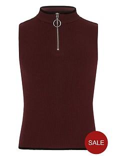 river-island-girls-dark-red-rib-knit-zip-neck-tank-top