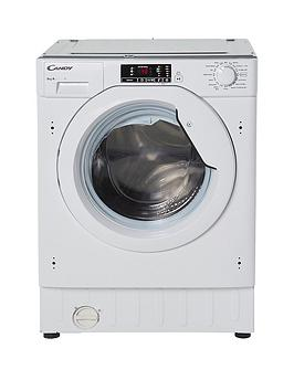 candy cbwm916d 9kg load, 1600 spin integrated washing machine - white - washing machine with installation