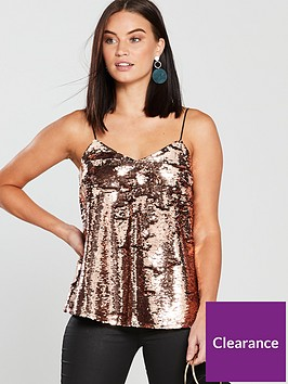 v-by-very-sequin-cami-top-rose-gold
