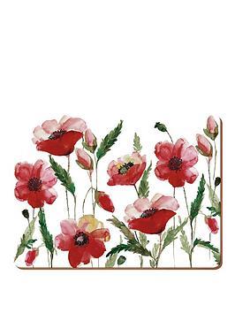 creative-tops-watercolour-poppy-premium-placemats-ndash-set-of-6