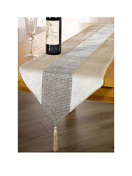 WATERSIDE Waterside 7-Piece Velvet Diamante Runner Set - Champagne Gold Picture