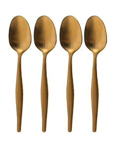 la-cafetiere-edited-set-of-4-tea-spoons-brushed-gold