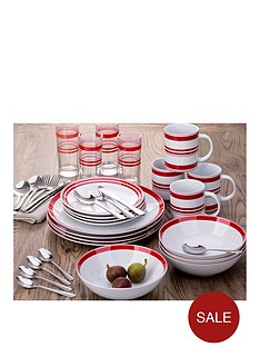 waterside-bistro-red-stripe-36-piece-combination-dinner-set