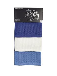 kitchencraft-super-absorbent-100-cotton-waffle-weave-tea-towels-70cm-x-47cm-blues-set-of-3