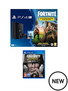 playstation-4-pro-ps4-pro-black-console-with-fortnite-royal-bomber-skin-and-500-v-bucks-with-call-of-duty-wwii-black-dualshock-controller-and-365-day-psn-subscription