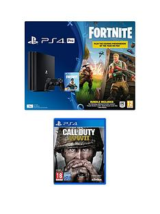 playstation-4-pro-ps4-pro-black-console-with-fortnite-royal-bomber-skin-and-500-v-bucks-with-call-of-duty-wwii-plus-optional-extra-controller-andor-365-day-psn-subscription