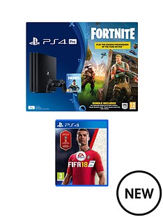 playstation-4-pro-ps4-pro-black-console-with-fortnite-royal-bomber-skin-and-500-v-bucks-with-fifa-18-and-365-day-psn-subscription