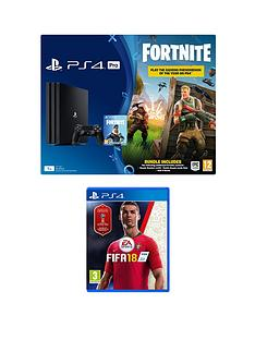 playstation-4-pro-ps4-pro-black-console-with-fortnite-royal-bomber-skin-and-500-v-bucks-with-fifa-18-plus-optional-extra-controller-andor-365-day-psn-subscription
