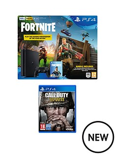 playstation-4-500gbnbspblack-console-with-call-of-duty-wwiinbspfortnite-royal-bomber-skin-and-500-v-bucks-plus-optional-extra-wireless-controller-andor-12-months-playstation-network