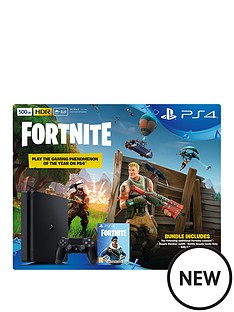 playstation-4-500gbnbspblack-console-with-fortnite-royal-bomber-skin-and-500-v-bucks-plus-optional-extra-controller-andor-12-months-playstation-network