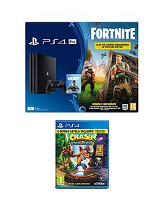 playstation-4-pro-ps4-pro-black-console-with-fortnite-royal-bomber-skin-and-500-v-bucks-with-crash-bandicoot-n-sane-trilogy-plus-optional-extra-controller-andor-365-day-psn-subscription