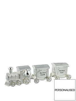 personalised-silver-plated-first-tooth-curl-set-train-with-2-carriages-in-a-silver-gift-box