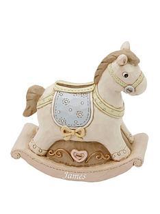 personalised-baby-resin-money-box-rocking-horse