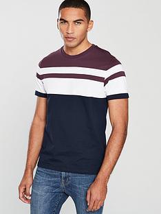 v-by-very-yarn-dye-panel-t-shirt-burgundynavy