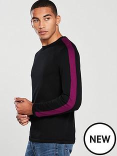 v-by-very-sleeve-stripe-knitted-crew-blackmagenta