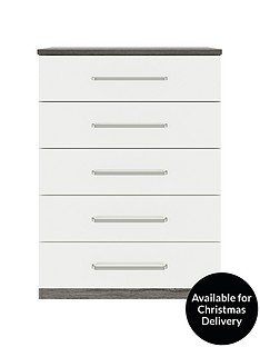 consort-stella-ready-assembled-gloss-front-5-drawer-chest