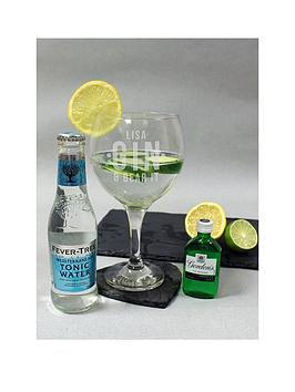 Very Personalised Gin &Amp; Bear It Glass With Miniature Gin &Amp; Mixer Picture