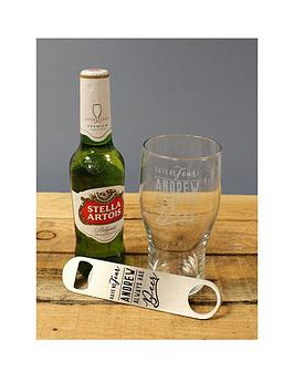 Very Personalised Ale Glass, Personalised Bottle Opener And Bottle Of Ale  ... Picture
