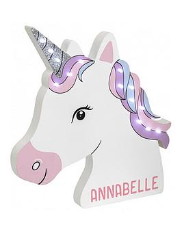 Very Personalised Unicorn Led Wall Light Picture