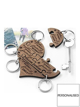 personalised-our-family-wooden-heart-jigsaw-keyring