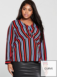 v-by-very-curve-wrap-front-detail-blouse-stripenbsp