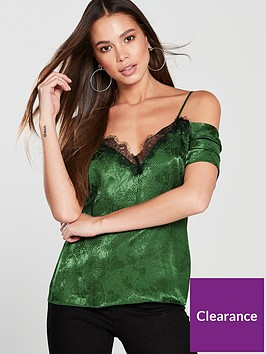 v-by-very-lace-cold-shoulder-jacquard-caminbsp--green