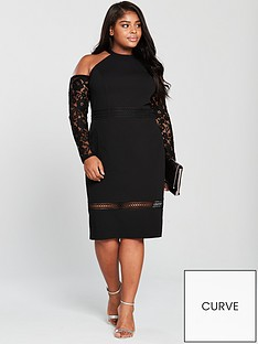 v-by-very-curve-lace-trim-cold-shoulder-bodycon-midi-dress-black