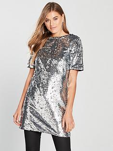 v-by-very-sequin-longline-top