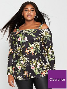 v-by-very-curve-cold-shoulder-long-sleeve-fluted-top-floral