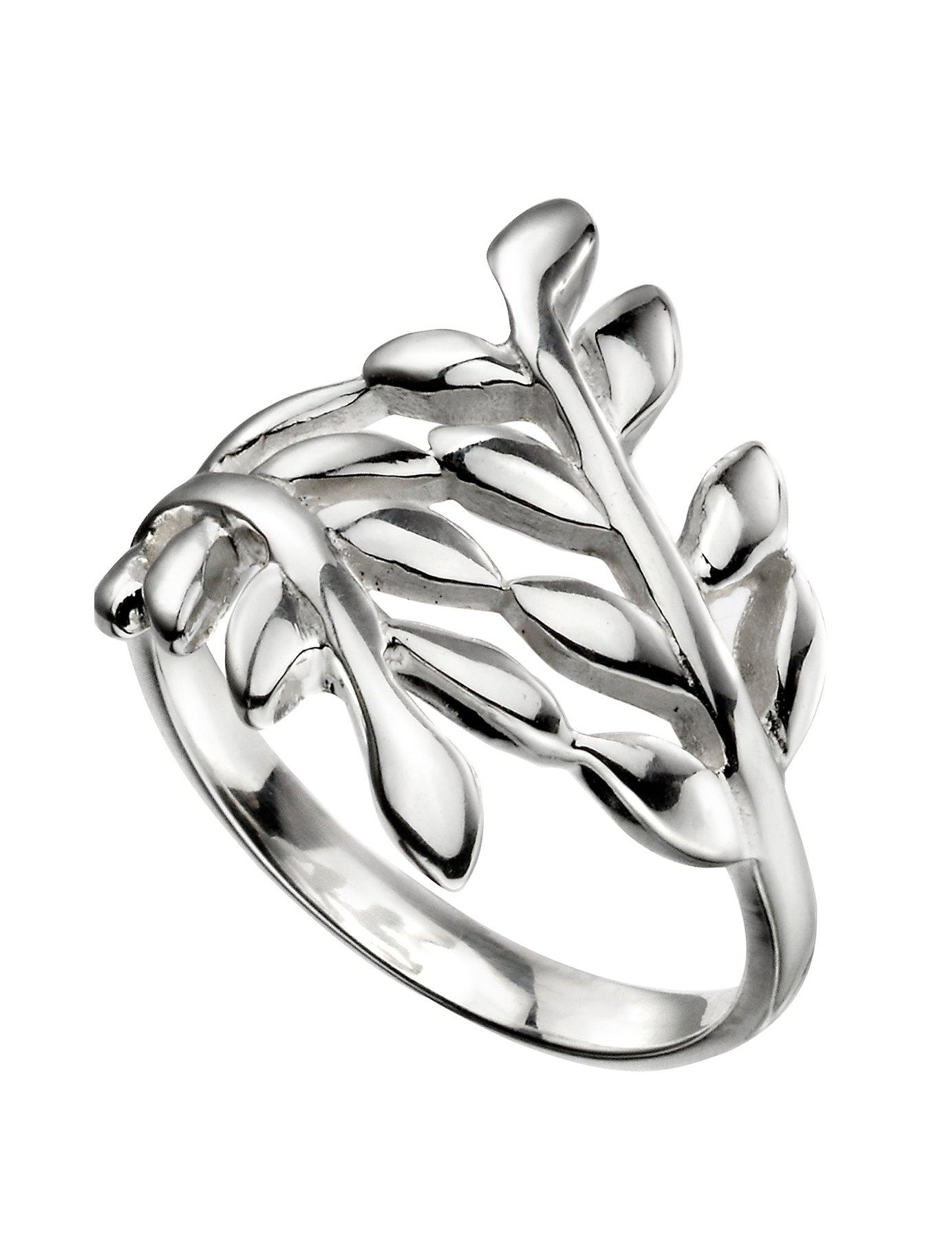 the love silver collection sterling silver wrap over leaf ring Gemstone Leaf Ring the love silver collection sterling silver wrap over leaf ring littlewoods