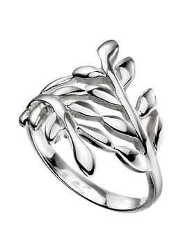 the-love-silver-collection-sterling-silver-wrap-over-leaf-ring