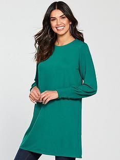 v-by-very-button-cuff-longline-top-dark-green