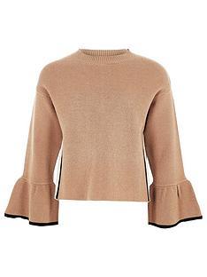 river-island-girls-camel-knit-bell-sleeve-jumper