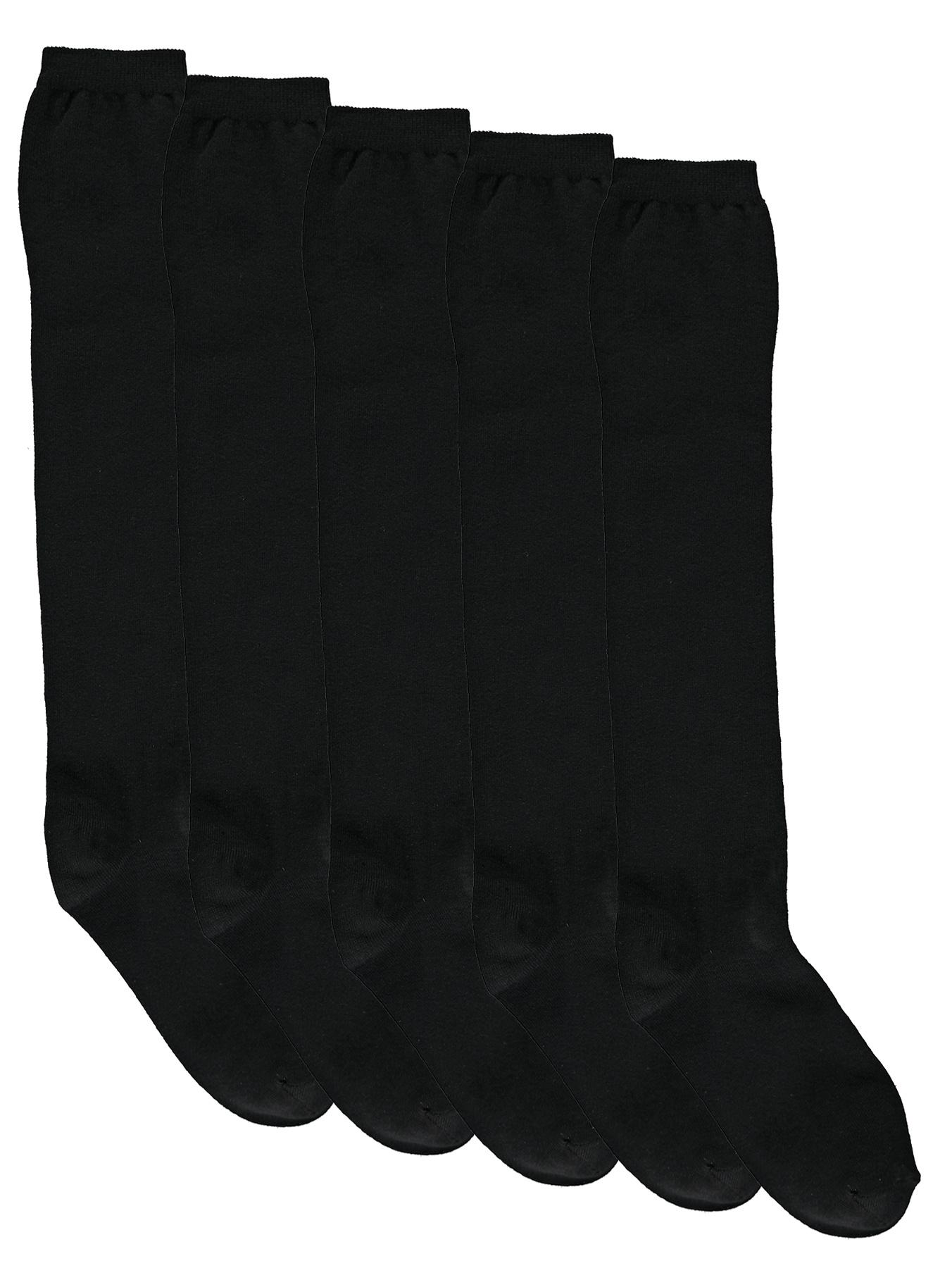 Knee High Socks (5 Pack), Black