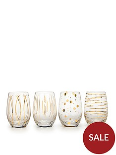 creative-tops-cheers-metallic-gold-stemless-wine-glasses-ndash-set-of-4