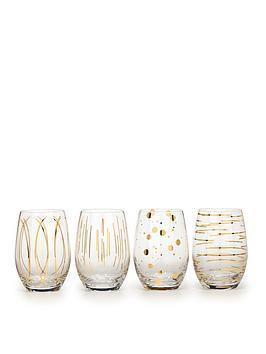 Creative Tops   Cheers Metallic Gold Stemless Wine Glasses &Ndash; Set Of 4