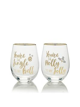 creative-tops-cheers-jingle-to-my-bell-and-holly-to-my-jolly-stemless-wine-glasses-ndash-set-of-2