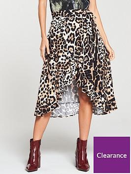 3017dea900a0a V by Very Printed Frill Wrap Skirt - Animal Print