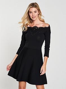 karen-millen-studded-lace-bardot-knitted-dress-blacknbsp