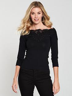 karen-millen-studded-lace-bardot-knitted-top-blacknbsp