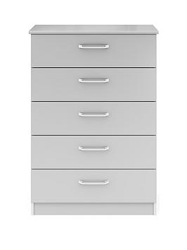 Very Sanford Ready Assembled High Gloss 5 Drawer Chest Picture