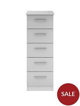 sanford-ready-assembled-high-gloss-narrow-5-drawer-chest