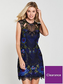 edcfbd80b2a KAREN MILLEN Metallic Coated Floral Embroidered Dress - Multi ...