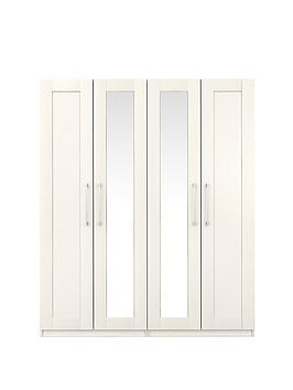 Very Frodsham Part Assembled 4 Door Mirrored Wardrobe Picture